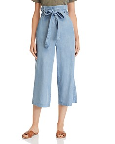 BLANKNYC - Chambray Paperbag-Waist Cropped Pants