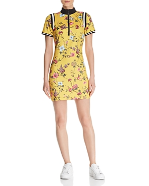 Pam & Gela Dresses HALF-ZIP FLORAL DRESS