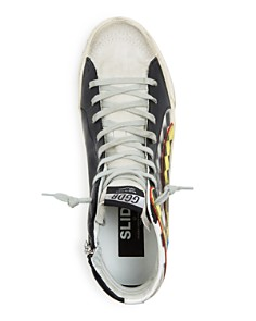 Golden Goose Deluxe Brand - Men's Check Distressed Leather High-Top Sneakers