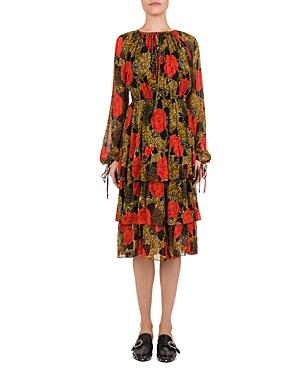 The Kooples Jungle Flowers Printed Midi Dress