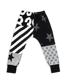 NUNUNU - Unisex Mixed-Print Baggy Pants - Baby