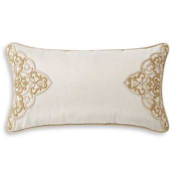 """Waterford - Shelah Embroidered Neck Roll Decorative Pillow, 11"""" x 20"""""""