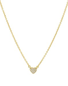"""AQUA - Small Embellished Heart Pendant Necklace in 14K Gold-Plated Sterling Silver or Sterling Silver, 16"""" - 100% Exclusive"""