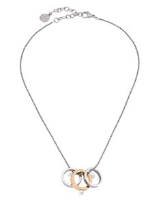 """Majorica - Simulated Pearl Two-Tone Ring Pendant Necklace, 15"""""""
