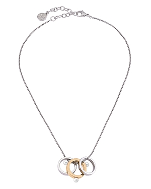 Majorica Accessories SIMULATED PEARL TWO-TONE RING PENDANT NECKLACE, 15