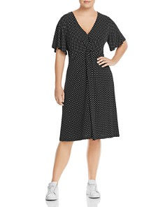 Leota Plus - Betty Dot-Print Twist-Front Dress