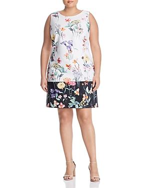 Adrianna Papell Plus Sleeveless Floral-Print Shift Dress