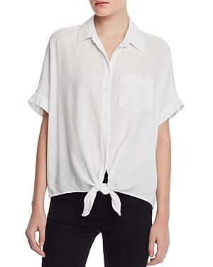 Beachlunchlounge T-shirts BEACHLUNCHLOUNGE SHORT-SLEEVE TIE-FRONT SHIRT