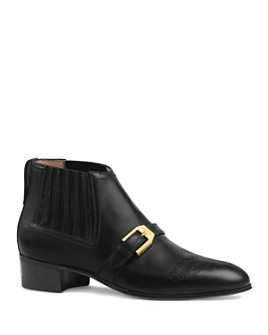 Gucci - Women's G Brogue Leather Ankle Boots