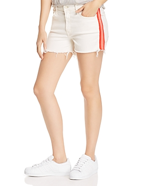 Mother Shorts THE SINNER FRAYED DENIM SHORTS IN WHIPPING THE CREAM PINK RACER