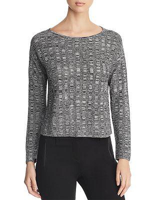 Petite Cropped Melange-Knit Sweater