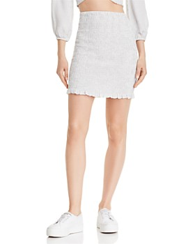 GUESS - Trixie Smocked Pinstripe Skirt