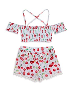 PilyQ - Girls' Cherry Two-Piece Swimsuit & Shorts - Little Kid, Big Kid