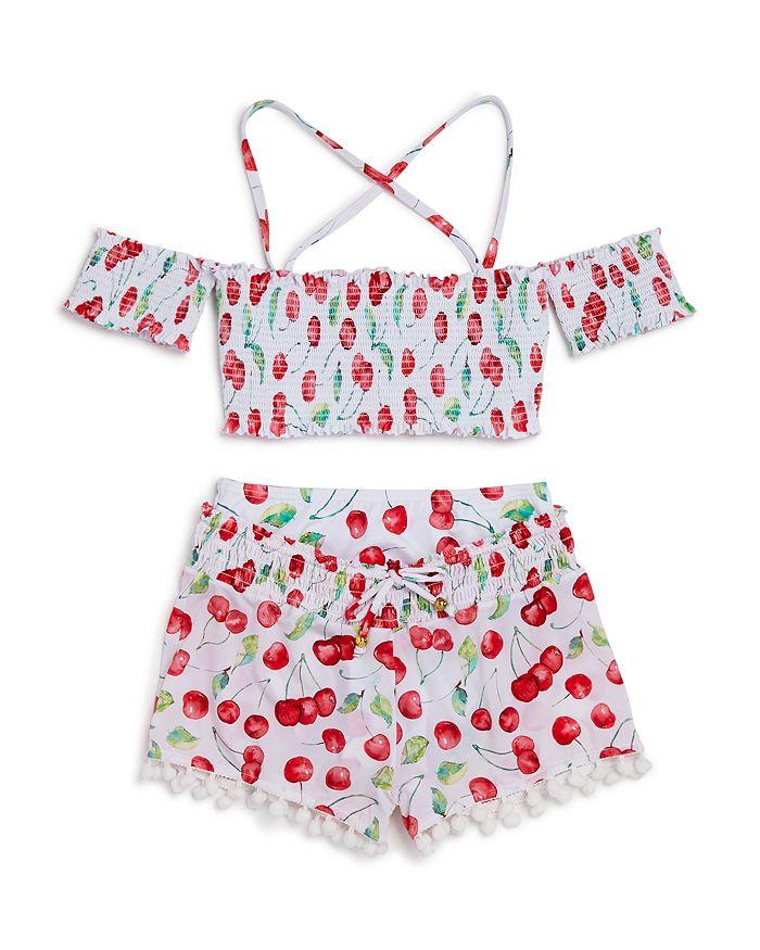 PilyQ - Girls' Cherry Two-Piece Swimsuit & Shorts - Little Kid, Big Kid