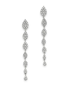 Bloomingdale's - Pavé Diamond Graduated Drop Earrings in 14K White Gold, 1.0 ct. t.w. - 100% Exclusive