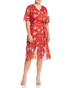VINCE CAMUTO Plus - Floral-Print Faux-Wrap Dress