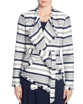 T Tahari - Striped Drape-Front Jacket