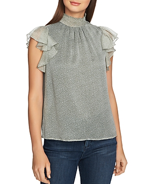 1.state Tops MOSAIC-PRINTED FLUTTER-SLEEVE TOP