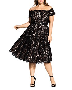 City Chic Plus - Off-the-Shoulder Lace Dress