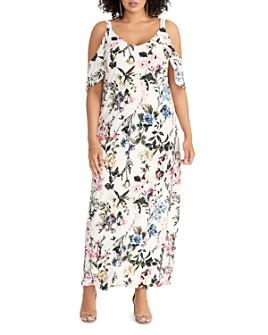 Rachel Roy Plus - Gaia Floral-Print Cold-Shoulder Maxi Dress
