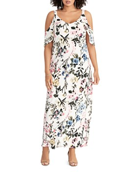 446d21d972c11 Rachel Roy Plus - Gaia Floral-Print Cold-Shoulder Maxi Dress ...