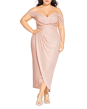 City Chic Plus Draped Cold-Shoulder Gown
