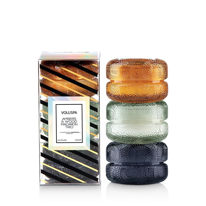Voluspa - Ambers & Wood Macaron Candle Trio, Set of 3