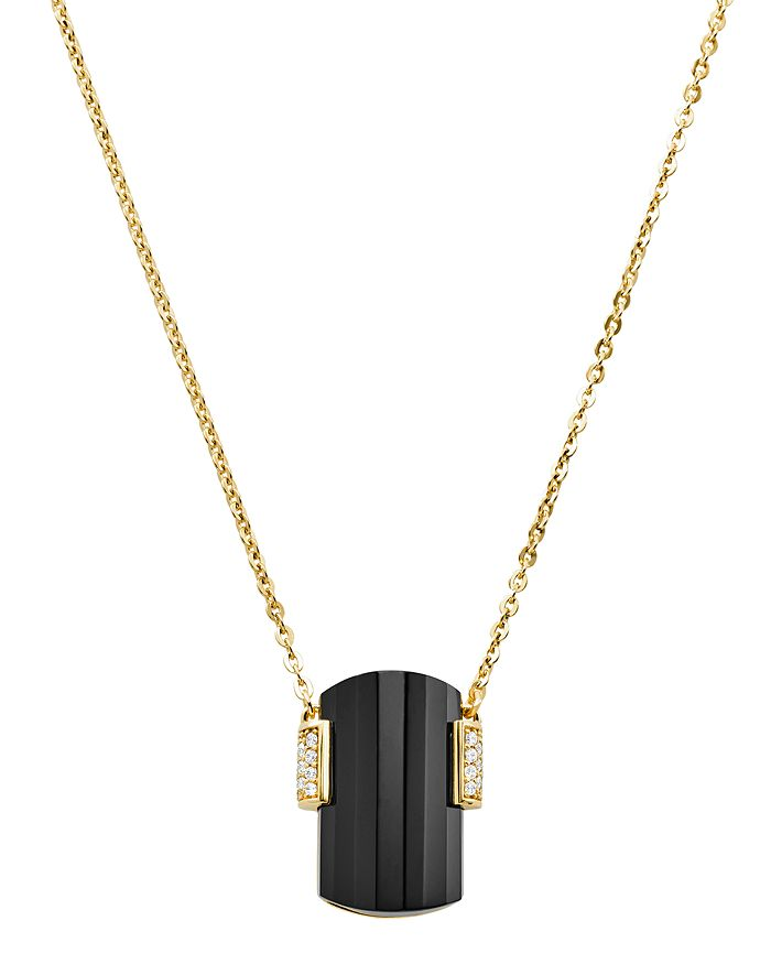 Michael Kors Stone Pendant Necklace In 14K Gold-Plated Sterling Silver, 16 In Black/Gold