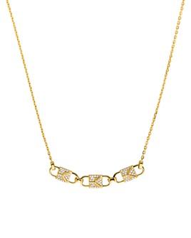 "Michael Kors - Mercer Padlock Necklace in 14K Gold-Plated Sterling Silver, 14K Rose Gold-Plated Sterling Silver or Sterling Silver, 16"""