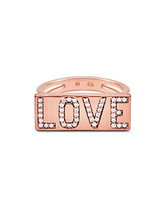 Michael Kors - Love Plaque Ring in 14K Gold-Plated Sterling Silver or 14K Rose Gold-Plated Sterling Silver