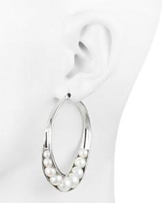 Carolee - Wrapped Simulated Pearl Large Hoop Earrings