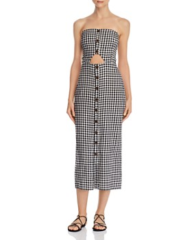 leRumi - Violet Strapless Gingham Midi Dress