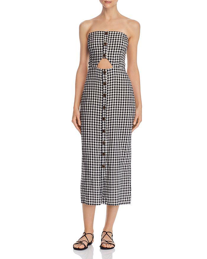 leRumi - Violet Strapless Gingham Midi Dress