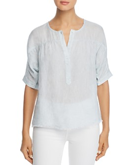NIC and ZOE - Frayed-Hem Linen Top