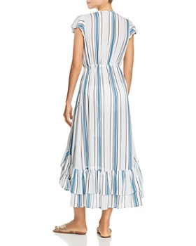 Surf Gypsy - Striped Tie-Front Ruffle Maxi Dress Swim Cover-Up