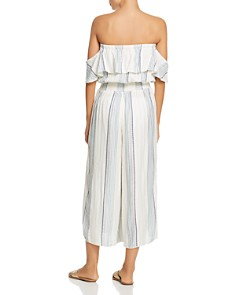 Surf Gypsy - Metallic Striped Ruffle Off-the-Shoulder Jumpsuit Swim Cover-Up