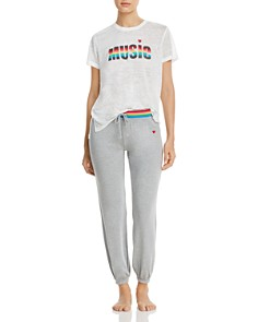 PJ Salvage - Rainbow Stripe Music Short-Sleeve Slub Tee & French Terry Jogger Pants