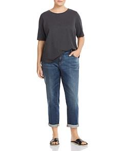 Eileen Fisher Plus - Cropped Boyfriend Jeans in Aged Indigo