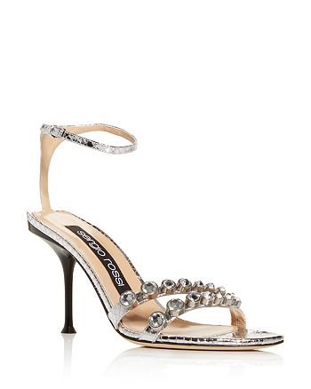 Sergio Rossi - Women's Milano Embellished Snake-Embossed High-Heel Sandals