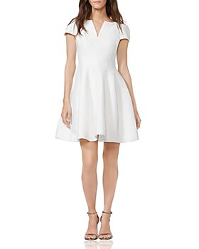 HALSTON - Notched Boatneck Dress