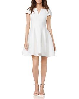 HALSTON - Notched Boatneck Dress