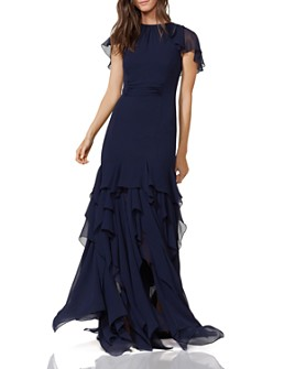 HALSTON - Cape Sleeve Ruffle Gown