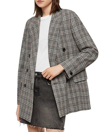 ALLSAINTS - Isla Lea Plaid Double-Breasted Blazer