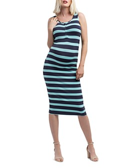 Nom Maternity - Striped Snap-Front Midi Tank Dress