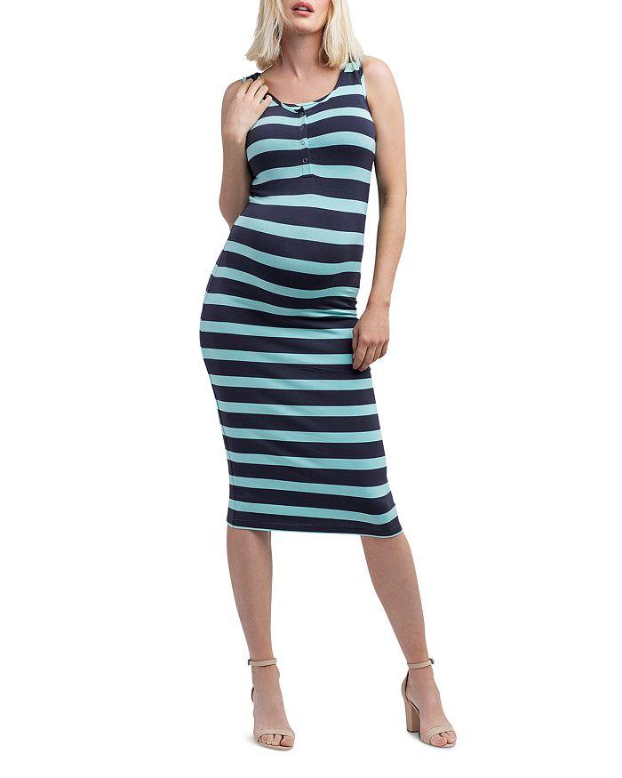 Nom Maternity - Striped Snap-Front Midi Tank Dress