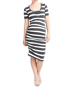 Nom Maternity - Snap-Front Ruched Tee Dress
