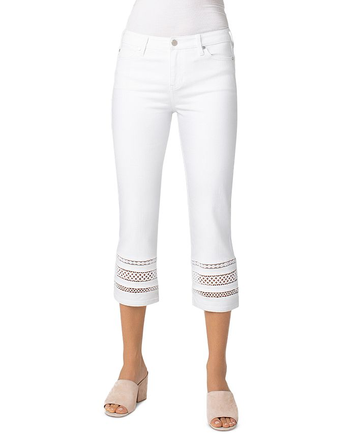 Liverpool LIVERPOOL SADIE LACE-INSET CROPPED JEANS IN BRIGHT WHITE