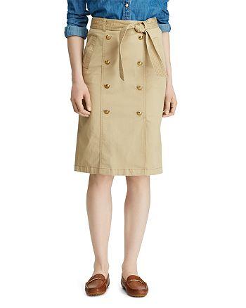 Ralph Lauren - Belted Button Pencil Skirt