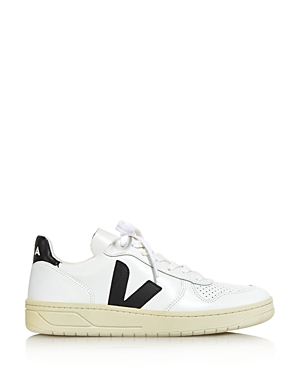 Veja Tops Women's V-10 Leather Low-Top Sneakers