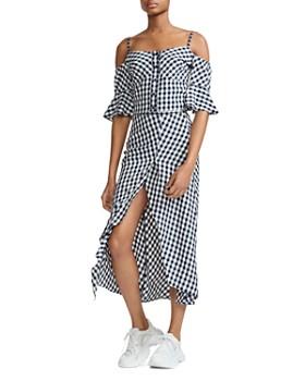 Maje - Japri Gingham Midi Skirt
